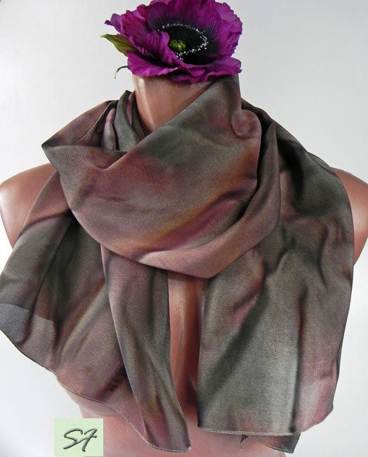 Hand Dyed Silk Scarf, Gray, Burgundy, Shibori, Abstract, Boho, Unique Handmade Scarves, Wearable art, Scarves Design, Silk Scarf, Idea Gifts by SilkFantazi on Etsy