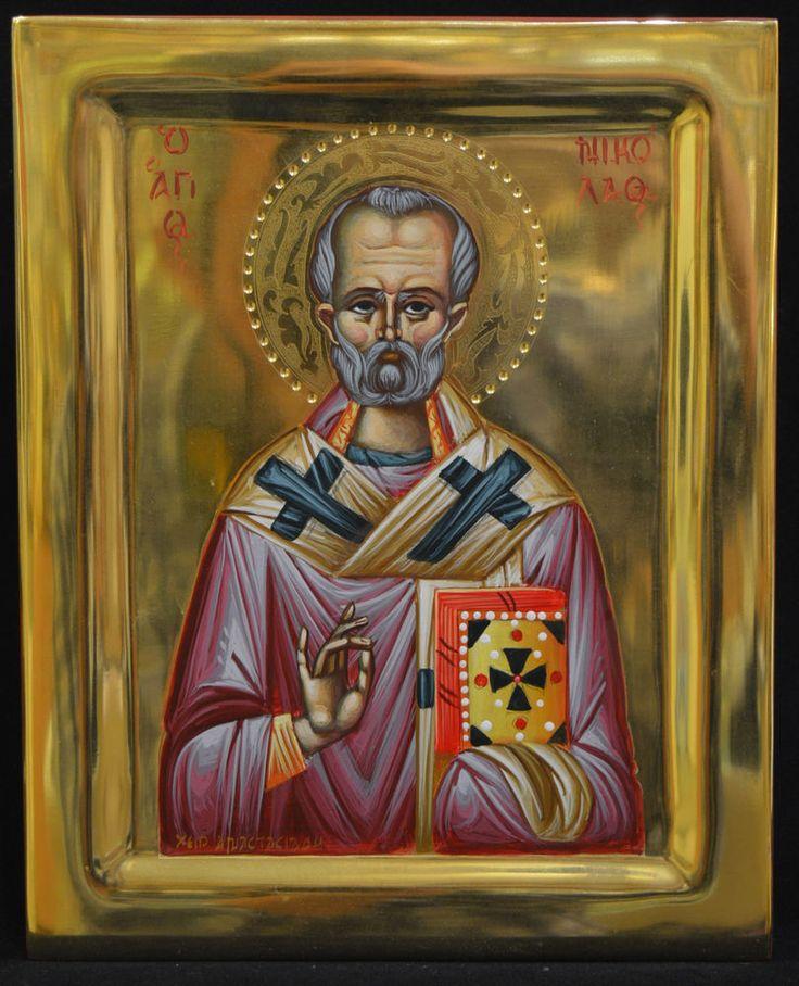 Orthodox Icon Handpainted Greek Byzantine 24k GOLD Saint Nikolas Mount ATHOS