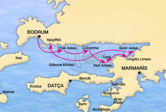 MAP of BODRUM – GULF OF GOKOVA – BODRUM