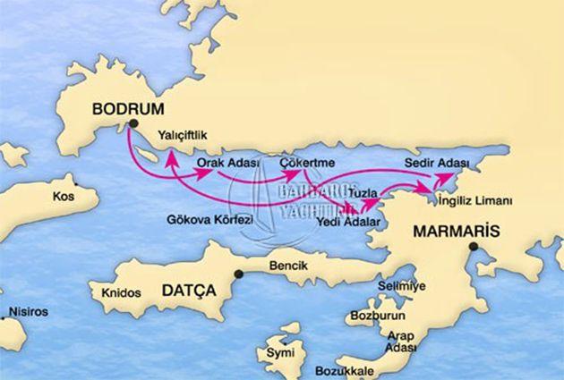 MAP of BODRUM – GULF OF GOKOVA – BODRUM