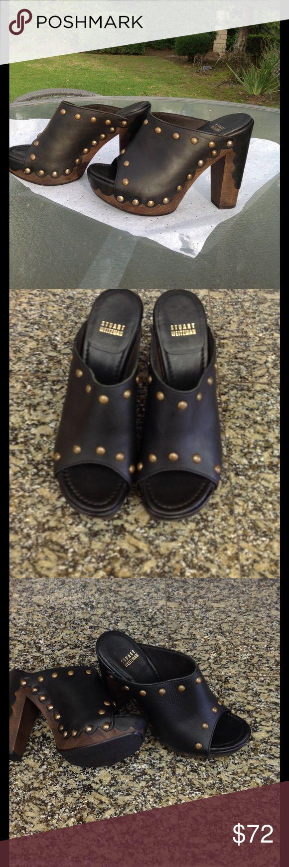 NWOT Stuart Weitzman mule clog heels Stuart Weitzman dark brown leather clog heels, open toe, 5.5 inch heel, size 8.5. Never worn, NWOT, no box. Stuart Weitzman Shoes Mules & Clogs