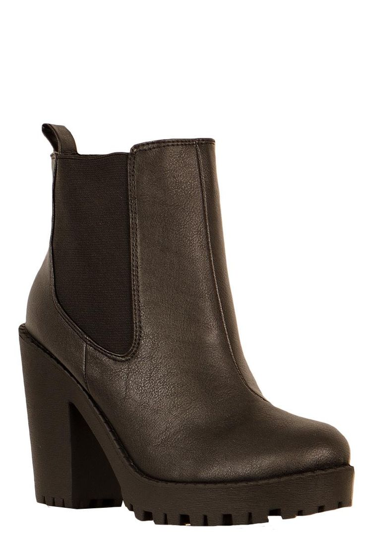 Elastic Insert Ankle Chelsea Boot Shoes Black Platform Ankle High Heel Boots At fuchia.co.uk
