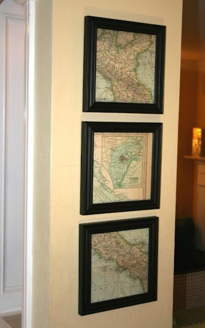 decorating with maps: 3 framed map sections