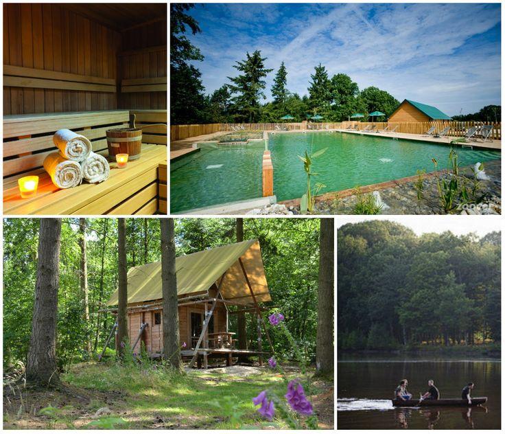 Huttopia Senonches kampeerdorp huisjes op palen aan een meer Centre