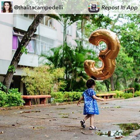 #repost da linda @thalitacampedelli (ela tem um canal maravilhoso no YouTube, se inscrevam por lá!!), sua filha Nina vai fazer 3 aninhos vestindo uma de nossas peças 😍 🎊🎉 Parabéns, Nininha, pelos seus 3 aninhos! 🎈😘