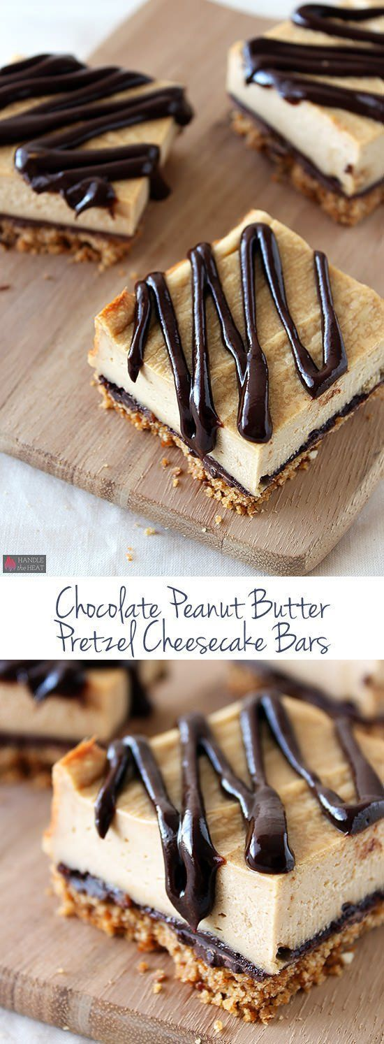 Talk about YUM! This is a must pin recipe. Chocolate Peanut Butter Pretzel Cheesecake Bars.