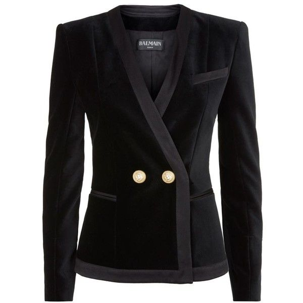 Balmain Black Velvet Double Button Short Blazer (£1,365) ❤ liked on Polyvore featuring outerwear, jackets, blazers, black, lined jacket, short blazer, black velvet blazer, balmain jacket and black blazer jacket