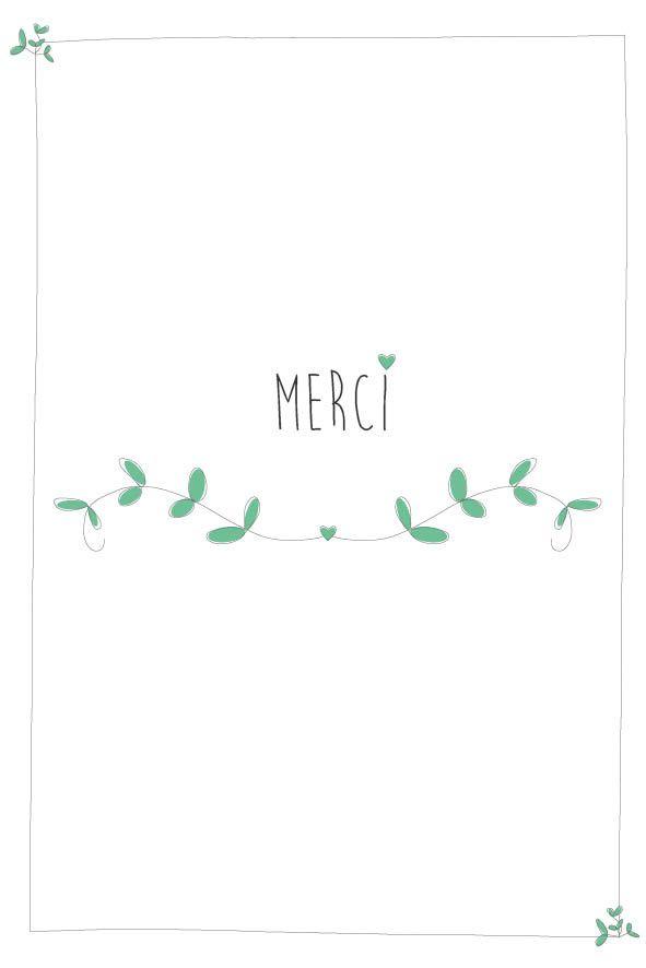 """Carte """"Merci"""" - avec de petites fleurs roses /vertes : Cartes par suite-creative-babies"""