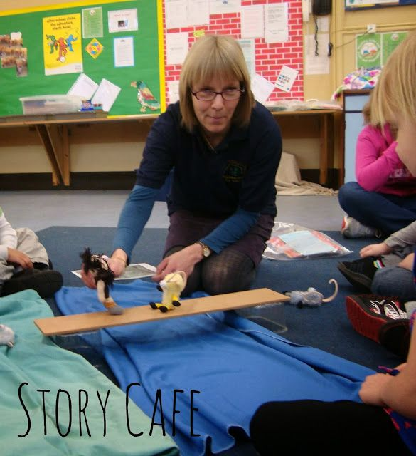 Retelling the story of the Three Billy Goats Gruff using props. Lots of opportunities for adding voices and trying out story book language. The children can then make stick puppets to take home and retell the story themselves.