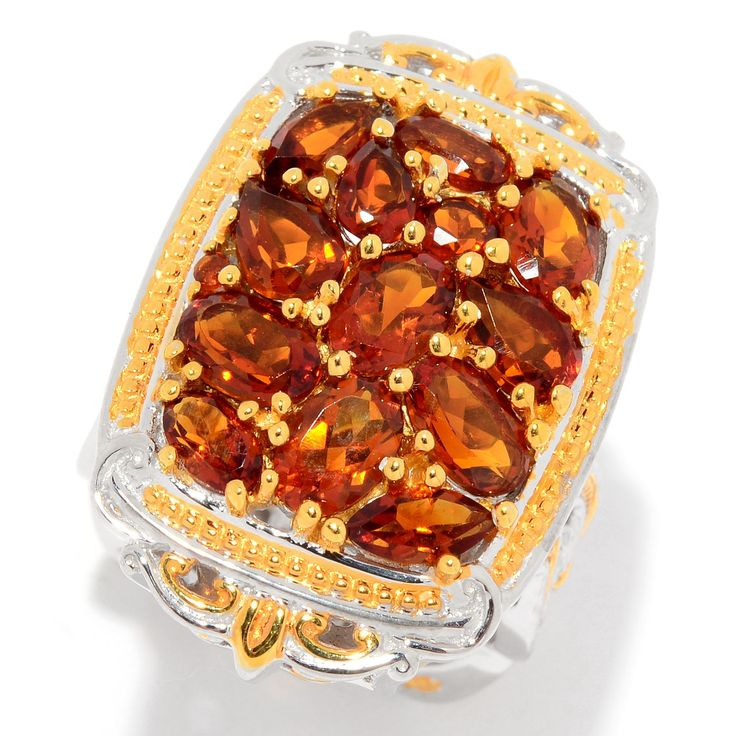 157-769 - Gems en Vogue 4.17ctw Multi Shape Madeira Citrine Cluster Ring