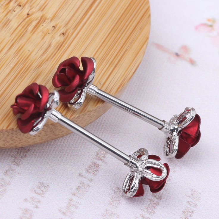 Free Shipping 2pcs Stainless Steel Barbell 14G Ear Nail Rings Nipple Bar Ring Barbell earring Body Piercing
