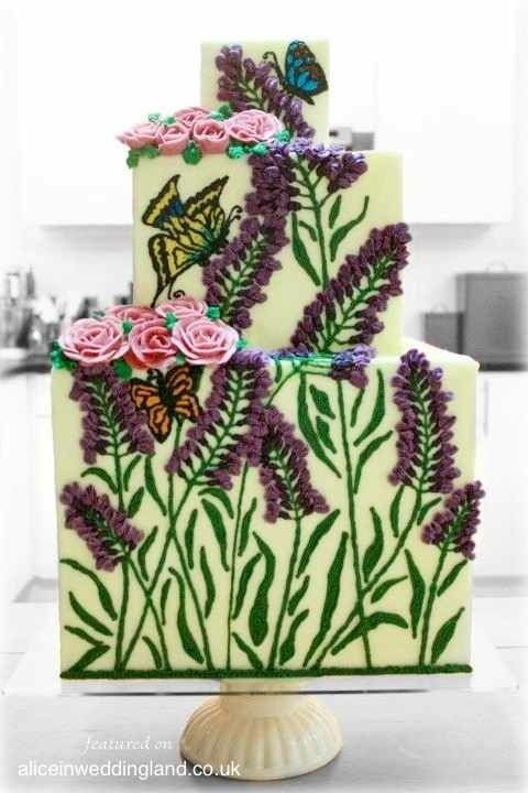 Queen Of Hearts Couture Cakes, botanicals w/ butterflies