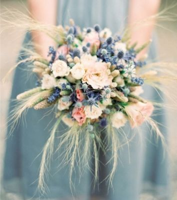 Okay, so no decorations whatsoever allowed at Wilder Ranch.  Which means the bouquets are really going to have to step up to the plate.  Mine bluish to match the bridesmaids dresses, and theirs white to match mine...
