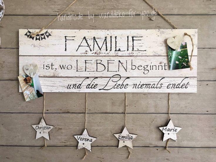 Familie…für eigene Fotos mit Sternen Vintage, Spruchtextschild, Sprüche, Holzschilder, Vintage, shabby chic, Liebe, Familie, Dekoration, Handmade,…