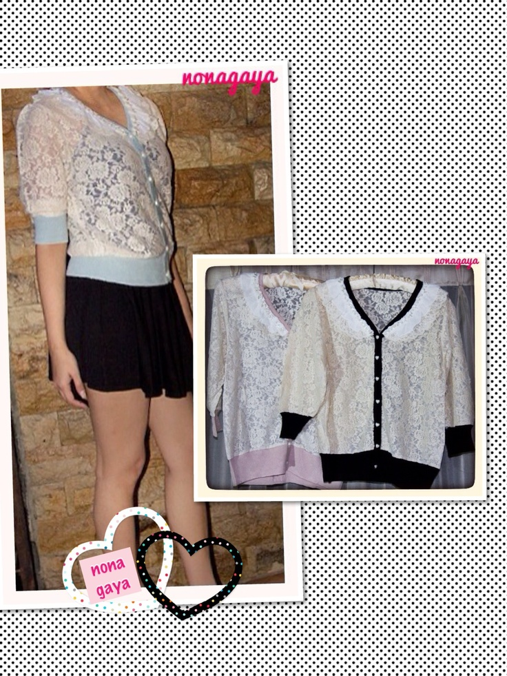 Full Lace Cardigan (pink,black,and blue)  Rp 195.000