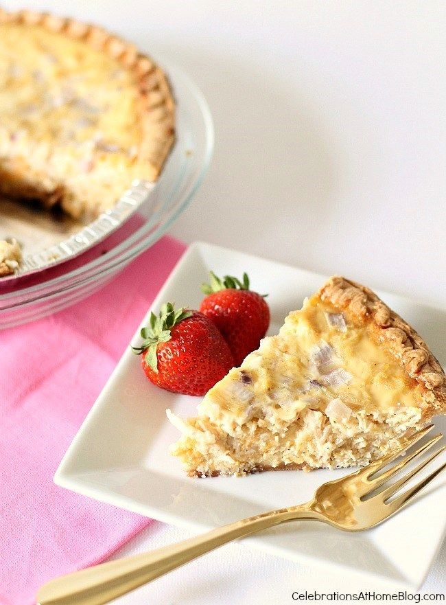 This chicken quiche is easy to put together and bake for a brunch, luncheon, or family dinner.  Tastes delicious too!