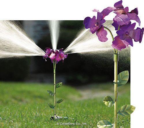 Iris Flower Lawn Sprinkler Yard Stake eclectic irrigation equipment