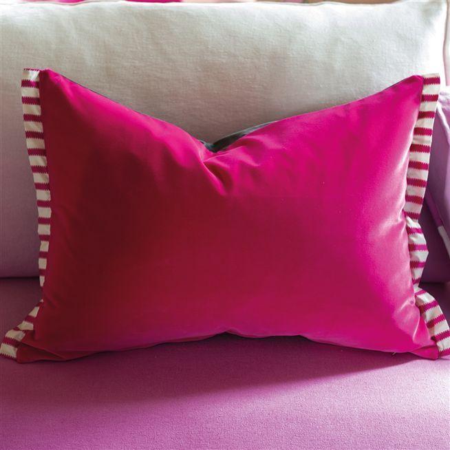 Varese Fuchsia Velvet Throw Pillow Designers Guild Velvet