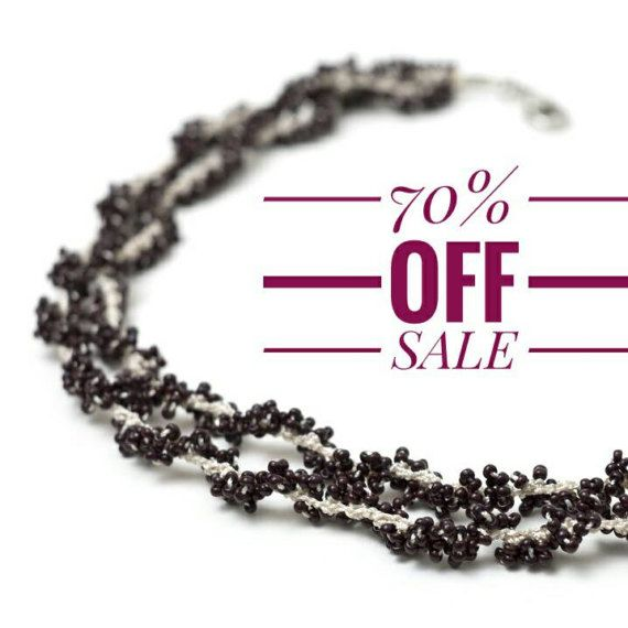 70% OFF Necklace-Bohemian Dark Red Crochet by PinaraDesign on Etsy