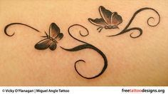 Feminine butterflies tattoo