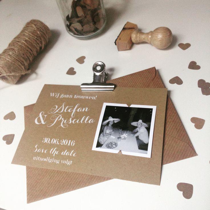 Kraft wedding save the date trouwkaart