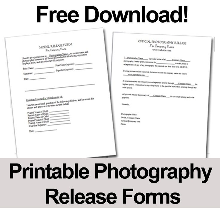 Print these free photography release forms to give your