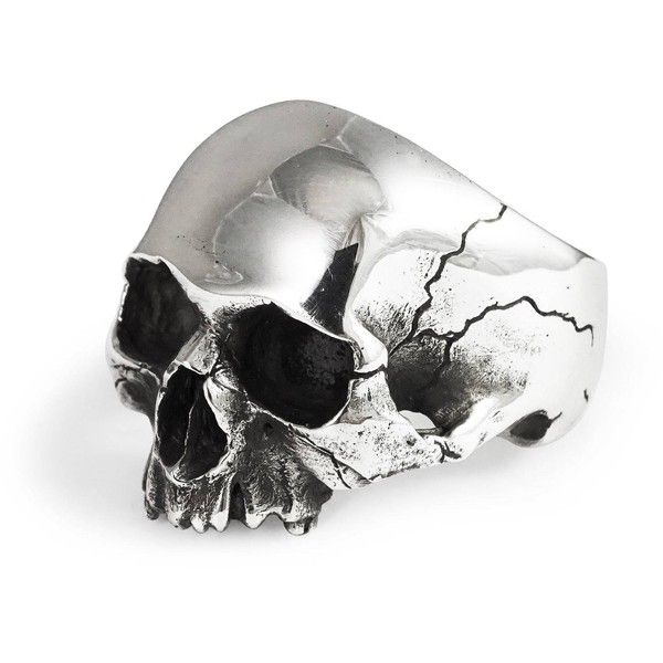 Frederick Grove - Silver Skull Ring ($170) ❤ liked on Polyvore featuring jewelry, rings, oxidised jewellery, oxidized silver jewelry, skull rings, polish jewelry and silver skull jewellery