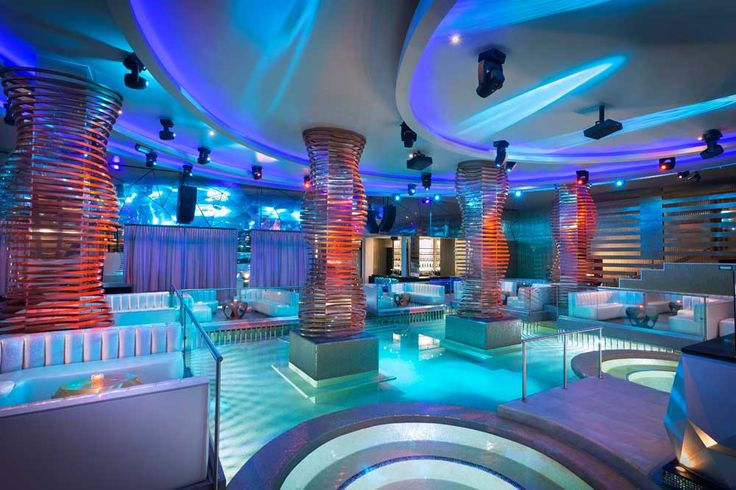 The Heaven Nightclub at the Hard Rock Riviera Maya. Yes, that's a pool in the middle of the night club.