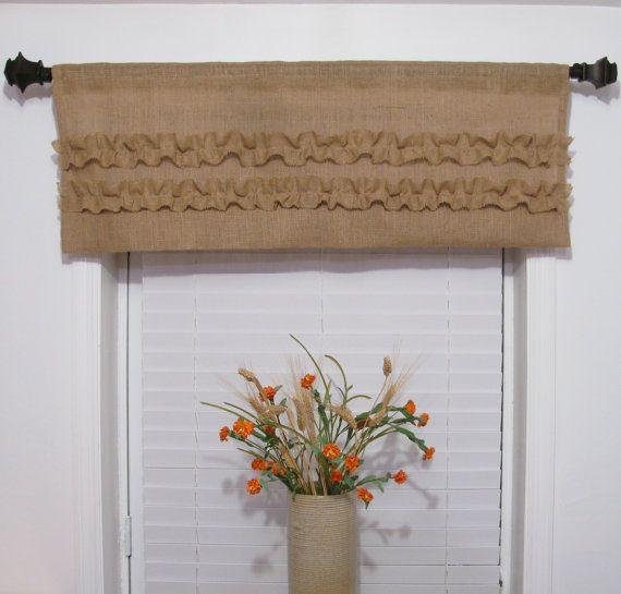 Natural Burlap Window Valance Ruffled Rustic Curtain