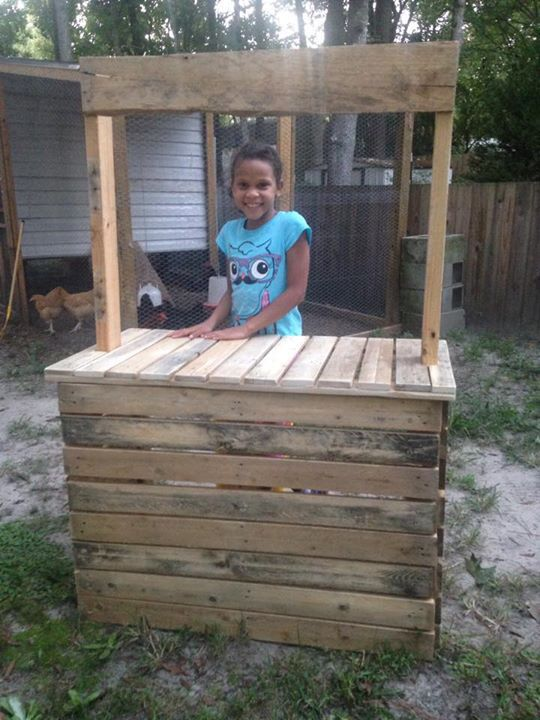 Lemonade stand, easy take apart and foldable for storage or transporting. All from pallets.