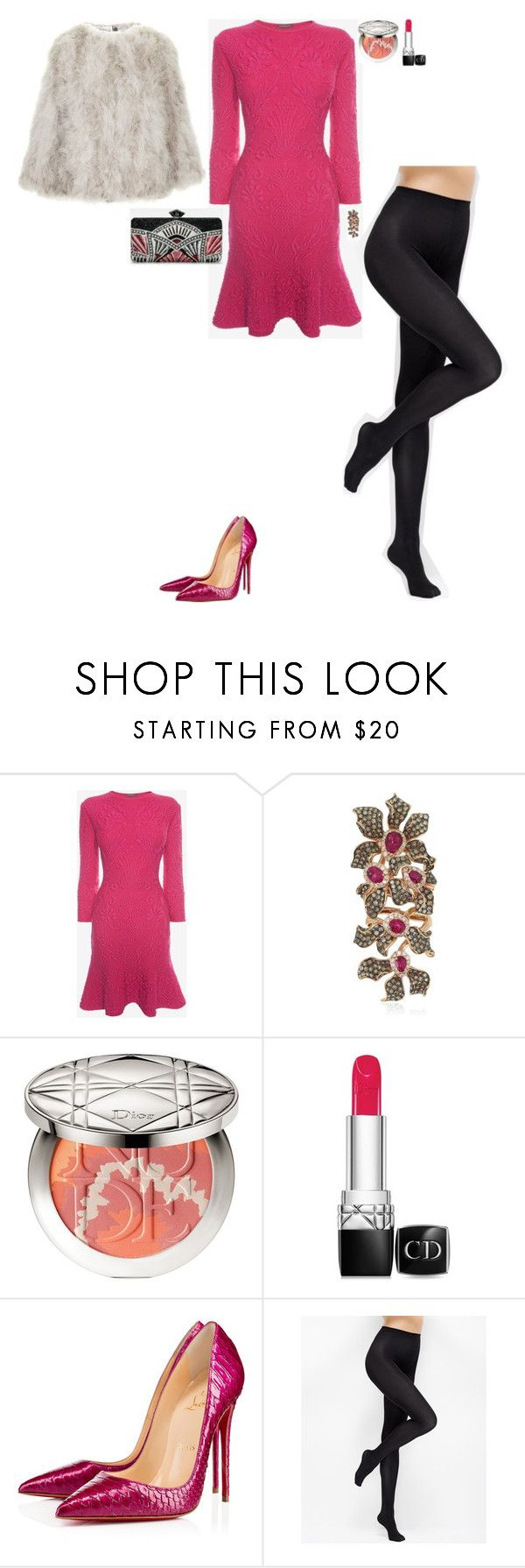 """""""Dinner with Damon and Hayley"""" by stylev ❤ liked on Polyvore featuring Alexander McQueen, Wendy Yue, Christian Dior, Christian Louboutin, Judith Leiber, Ann Taylor and Topshop"""