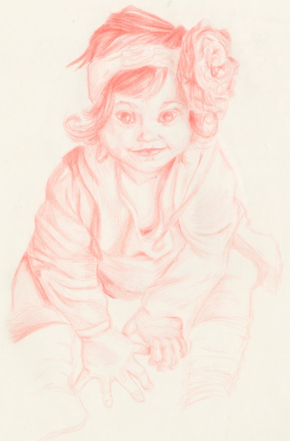 Commission a 7x10 inch Red Pencil Drawing by FrankiesArtwork, $15.00
