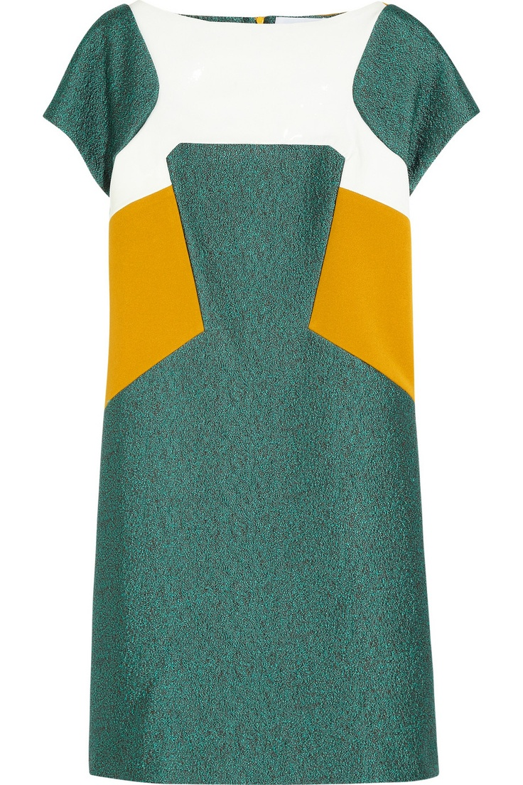 CHALAYAN  Color-block jacquard, PVC and crepe dressMatching Fascinators, Crepes Dresses, Emeralds Mustard, Chalayan Colors Block Jacquard, Eeeekkkk Major, Dresses To Wear With Nets, Mustard Mod, Elegant Style