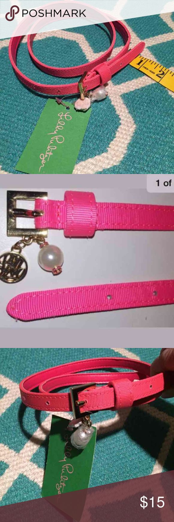 """NWT LILLY PULITZER Pink Skinny Belt Size XS/ S  Measures 27""""-31"""" max Retails $48.00 Pictures 2 and 3 are stock photos I didn't want to remove original packaging.  Pet and smoke free closet.  Be sure to like and follow PINK HIVE for really great quality listings and good prices.  Visit often, new Lilly Pulitzer Accessories Belts"""