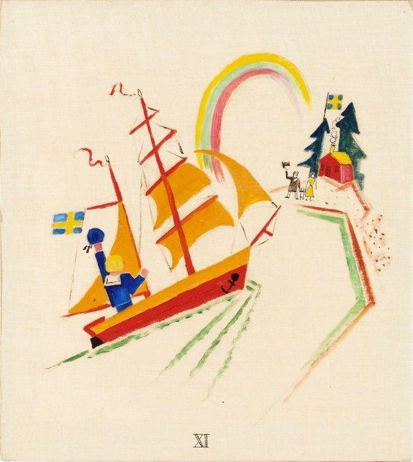 Gösta Adrian-Nilsson   XI - Lille Olles Resa, 1920   Oil on canvas 29 x 27 cm https://www.bukowskis.com/auctions/557/138-gosta-adrian-nilsson-lille-olles-resa?locale=en&page=7