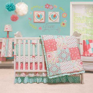 The Peanut Shell Mila Baby Bedding Collection: Bright aqua and coral baby bedding are at the center of this fun collection of nursery decor. Fall in love with the floral and graphic patterns that are used through out this set. http://www.babybeddingandaccessories.com/the-peanut-shell-mila-baby-bedding-collection/