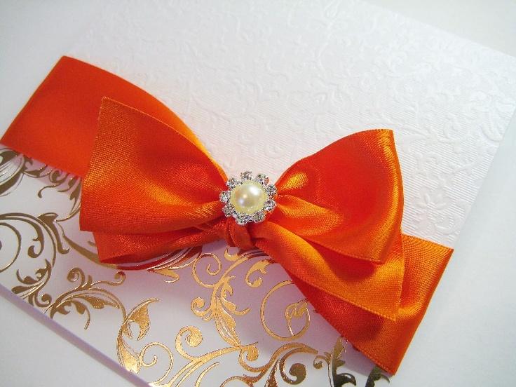 Orange and pearl diamante themed invitation