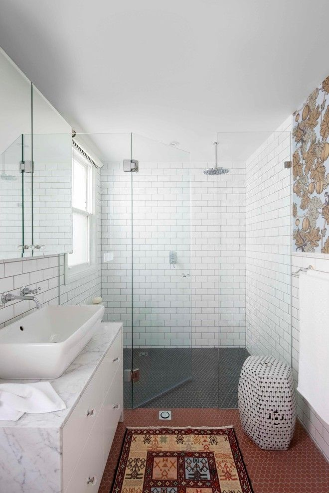 Handmade Subway Tile Bathroom Traditional with Wainscoting Nickel Towel Racks and Stands