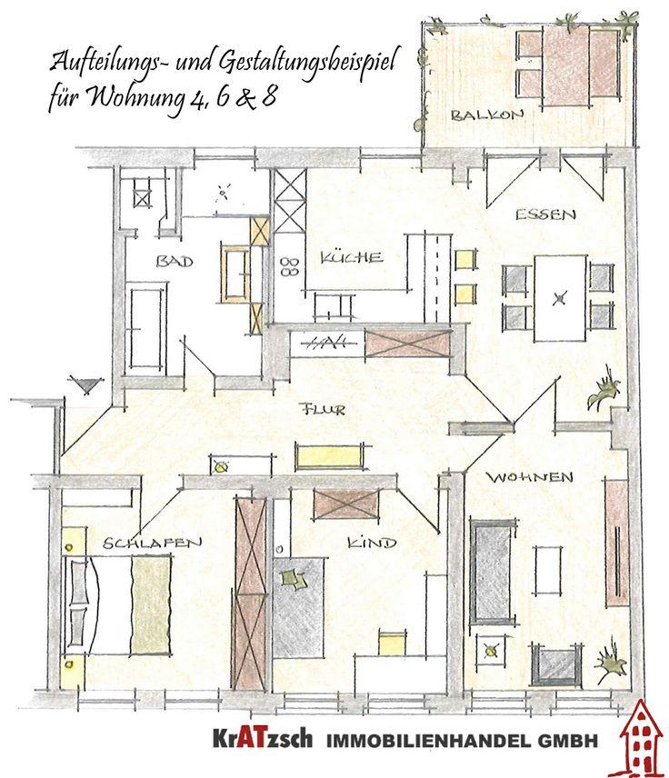 Hier zu sehen ist ein Gestaltungsvorschlag für die Wohnungen der rechten Hausseite. Sie werden eine Größe von ca. 108m² haben.