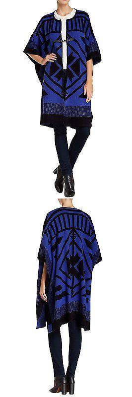 Sweaters 50993: Vertigo Paris Women S Geo Print Open Font Cardigan Poncho - Black Indigo - -> BUY IT NOW ONLY: $73.55 on eBay!