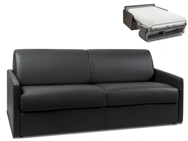 Canapé 4 places convertible express en simili CALIFE - Noir - Couchage 160 cm - Matelas 22cm