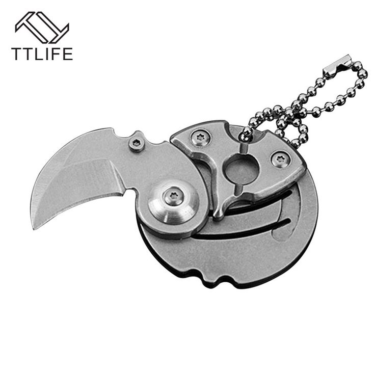 TTLIFE 4 Colors Coins Folding Knife Fixed Blade Key Chain Outdoor Survival Camp Tactical Hunting Small Pocket Knives Carry Tool