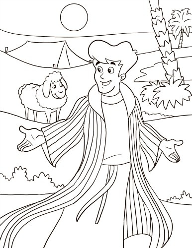 Joseph And The Coat Of Many Colors Coloring Page Telling