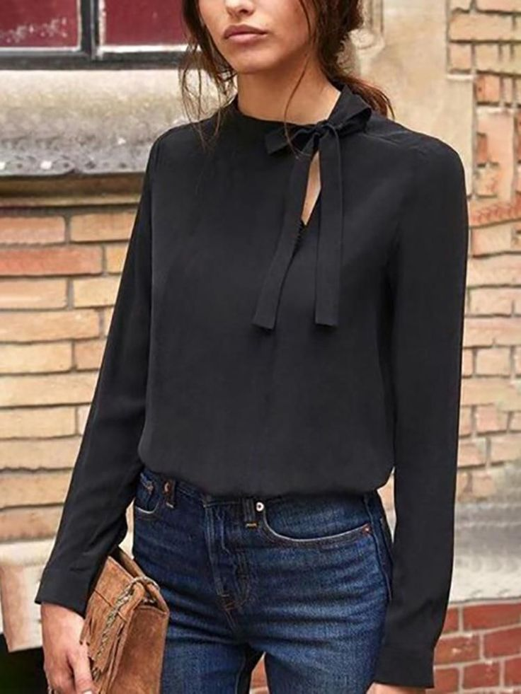 Cut Out Tie Neck Casual Top 15
