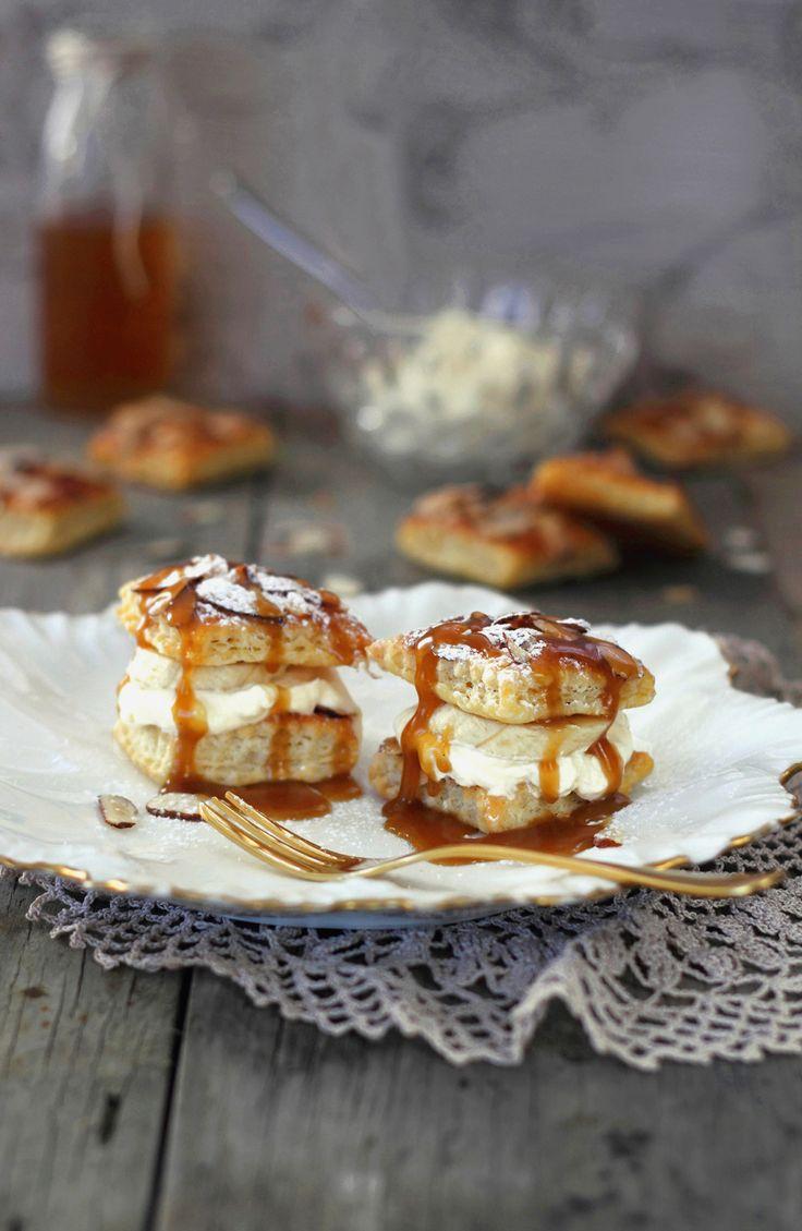 Spiced Sugar Pastries with Banana & Caramel Sauce
