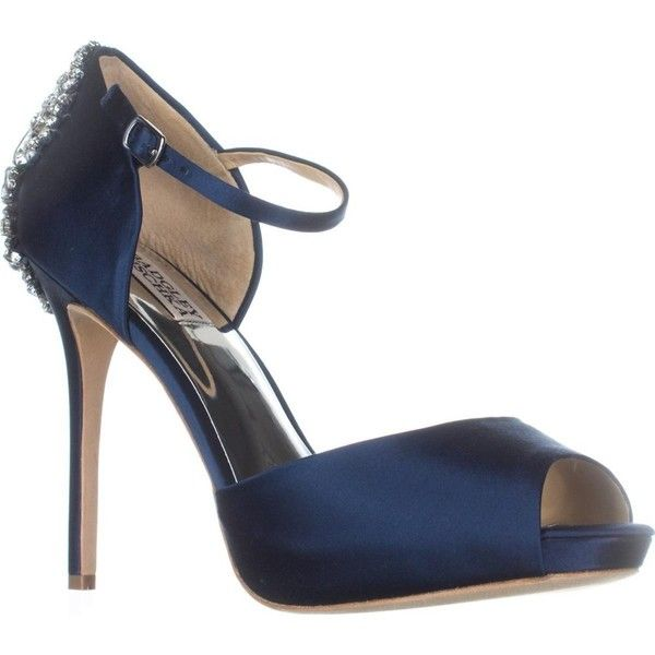 Badgley Mischka Dawn Mary Jane Dress Sandals, Navy ($144) ❤ liked on Polyvore featuring shoes, sandals, blue, mary jane shoes, navy blue high heel sandals, navy blue sandals, high heel shoes and navy blue dress sandals