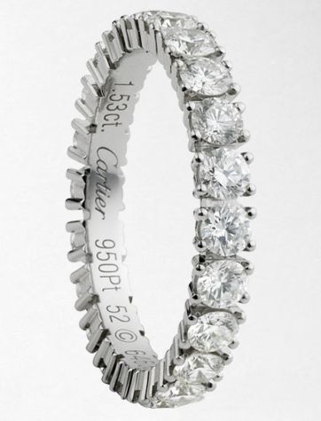 My Wedding Band.#2015 Cartier wedding band, platinum and 1.5 carats of diamonds. From $9,050