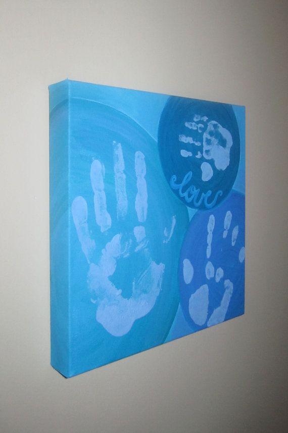 "Custom Family Handprint Canvas Art, Hand Painted Keepsake, Circles, ""Love"", Print Kit, 12""x12"" on Etsy, $36.00"