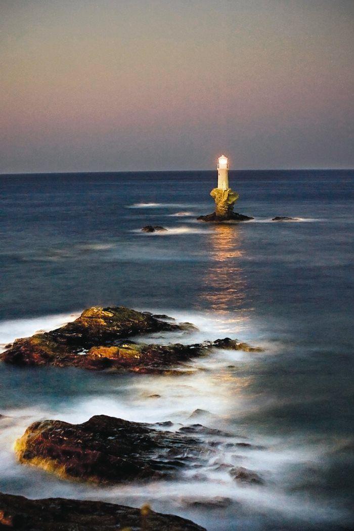 Tourlitis Lighthouse, Andros island, GREECE, built on a rock in the sea.   Ένας από τους ωραιότερους φάρους στον κόσμο βρίσκεται στην Άνδρο!