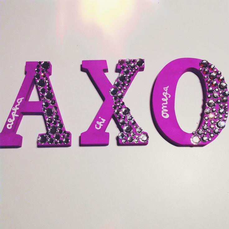 Bedazzled alpha chi omega sorority letters! Purple for domestic violence awareness. LITB